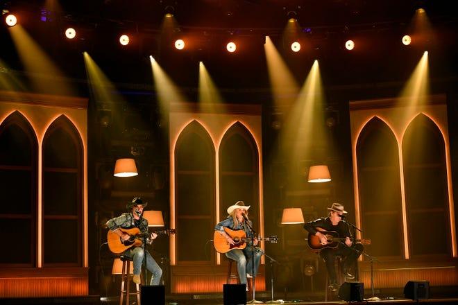 Miranda Lambert, Jack Ingram and Jon Randall perform at the Ryman Auditorium during the 56th ACM awards in Nashville on Sunday, April 18, 2021.