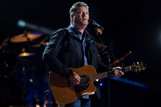 """Blake Shelton performs """"Minimum Wage"""" during the 56th Academy of Country Music Awards at the Grand Ole Opry Saturday, April 17, 2021 in Nashville, Tenn."""