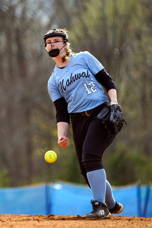 Mahwah's Holly Amell pitches to DePaul Catholic. Mahwah defeated DePaul, 18-3, in the season opener at home on Monday, April 19, 2021.