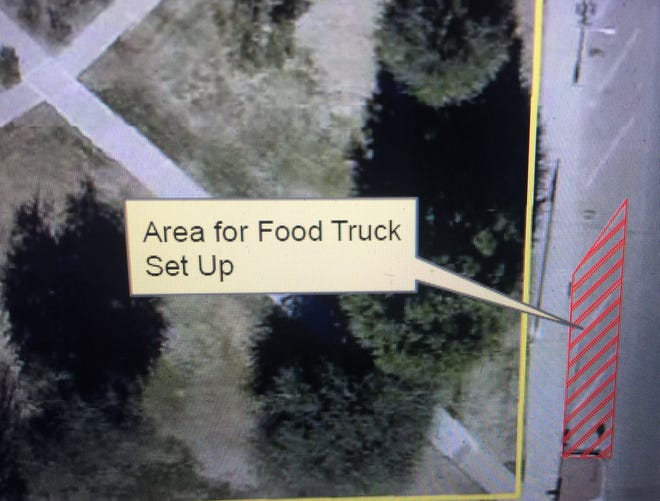 A screen capture from the April 13, 2021 Carlsbad City Council meeting shows a location on Canyon Street where Carlsbad MainStreet plans to have regular visits from food trucks.