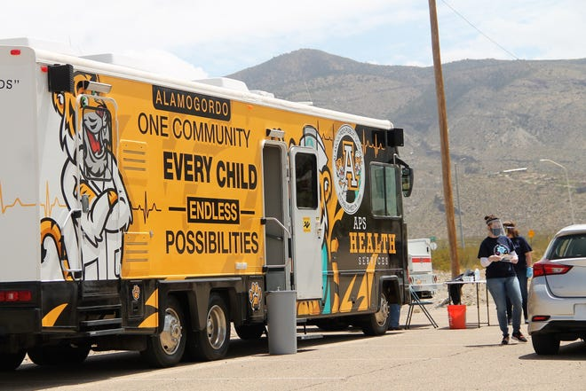 COVID-19 tests being administered at the Alamogordo Public Schools HOPE Task Force drive thru health and wellness fair at the Tays Center in Alamogordo on April 17.