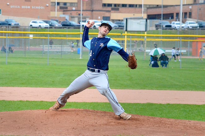 Marysville's Lawrence Smafield pitches during a Macomb Area Conference-Blue baseball game on Monday, April 19, 2021, at Utica.