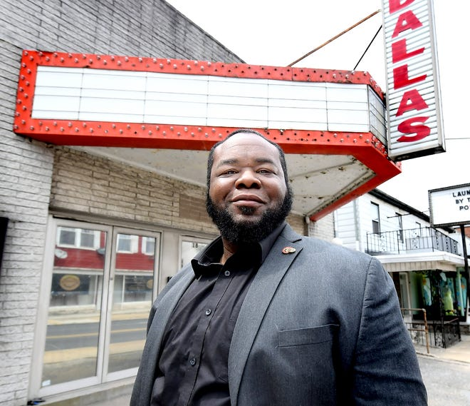Weary Arts Group CEO Calvin Weary stands outside the Dallas Theatre in Dallastown Monday, April 19, 2021. He is planning to make the former theater home base for his arts group. Bill Kalina photo