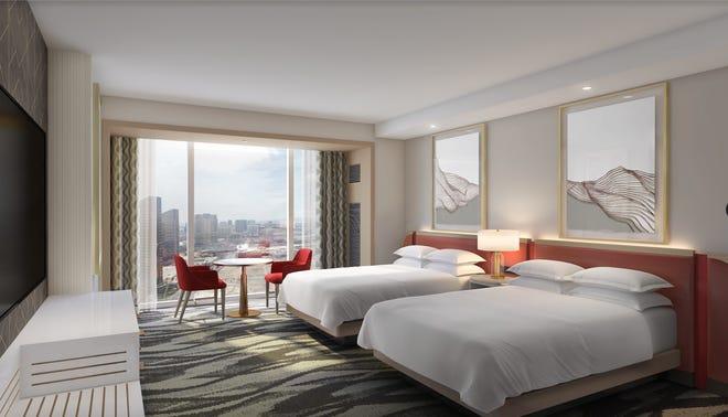 A premium queen suite at the Conrad Las Vegas at Resorts World Las Vegas.