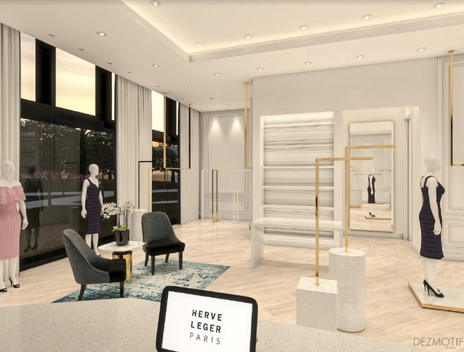 A rendering of Herve Leger Paris, a shop at Resorts World Las Vegas.