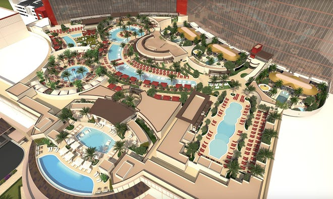 A rendering of the pool complex at Resorts World Las Vegas.