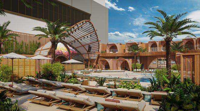 Entrance to the AYU Dayclub at Resorts World Las Vegas.