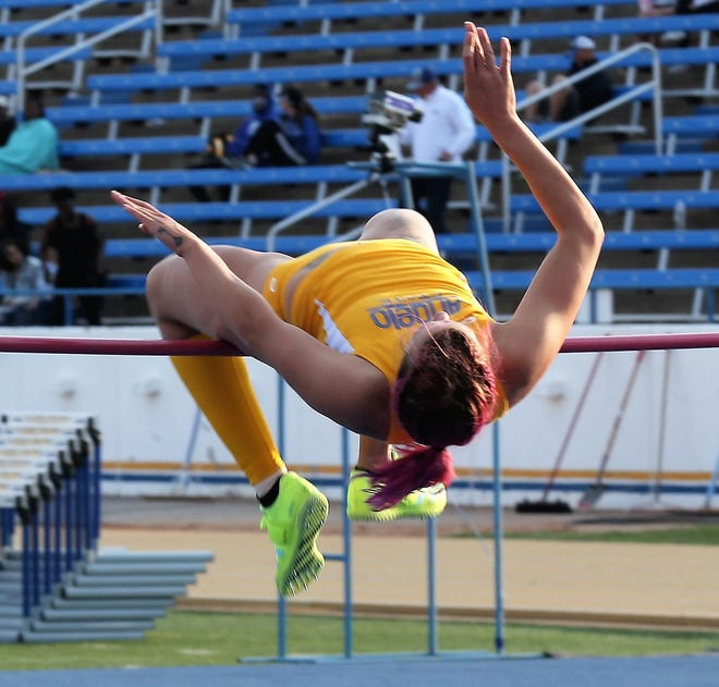 Angelo State University's Karlea Duhon competes in the high jump during the David Noble Relays in San Angelo on Friday, April 2, 2021.