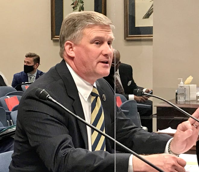 Sen. Barrow Peacock, R-Bossier City, testifies in front of the Senate Finance Committee on Monday, April 19,2020.