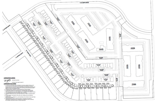 The proposed plan for several apartment buildings in northwestern Sioux Falls