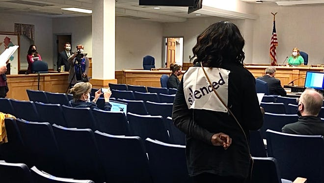 Staunton residents attended the April 15 city council meeting to protest the recent vote that eliminated citizen's ability to call in during public hearings.