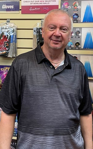 Matt Surina, a former four-time PBA pro bowling champion, took home the high-average honor in Mesquite bowling this year with a 221 season average.
