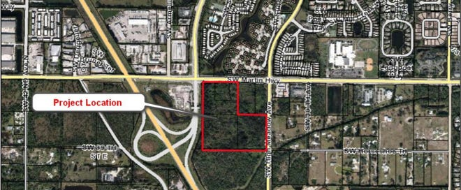 An aerial view shows a Palm City project location for a Wawa, Tractor Supply Company and other businesses still undergoing the county review process such as an Aldi grocery store.
