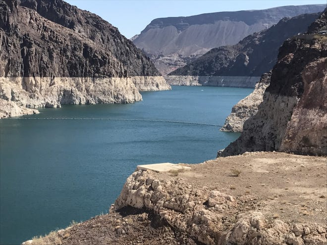 The water level at Lake Mead has reached a historic low - 145 feet lower than it was at the start of the drought more than 20 years ago, says the National Park Service.