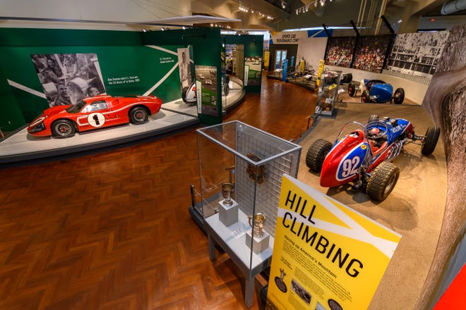 """A look inside """"Driven to Win: Racing in America"""" at the Henry Ford Museum of American Innovation in Dearborn, Michigan."""