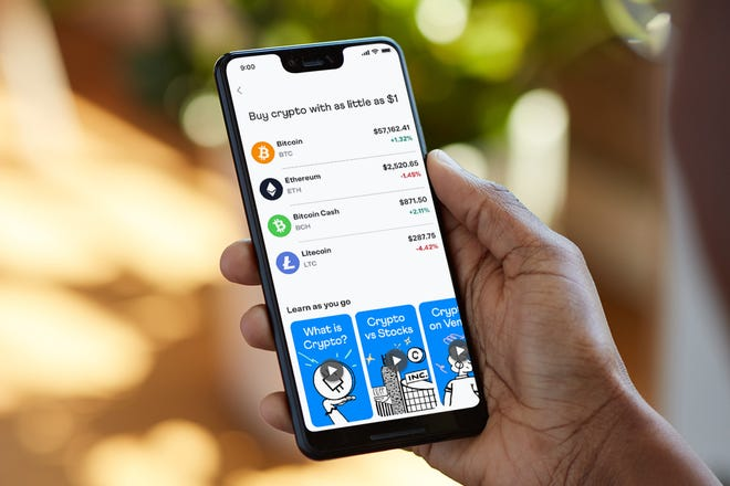 An image of the crypto feature on Venmo.