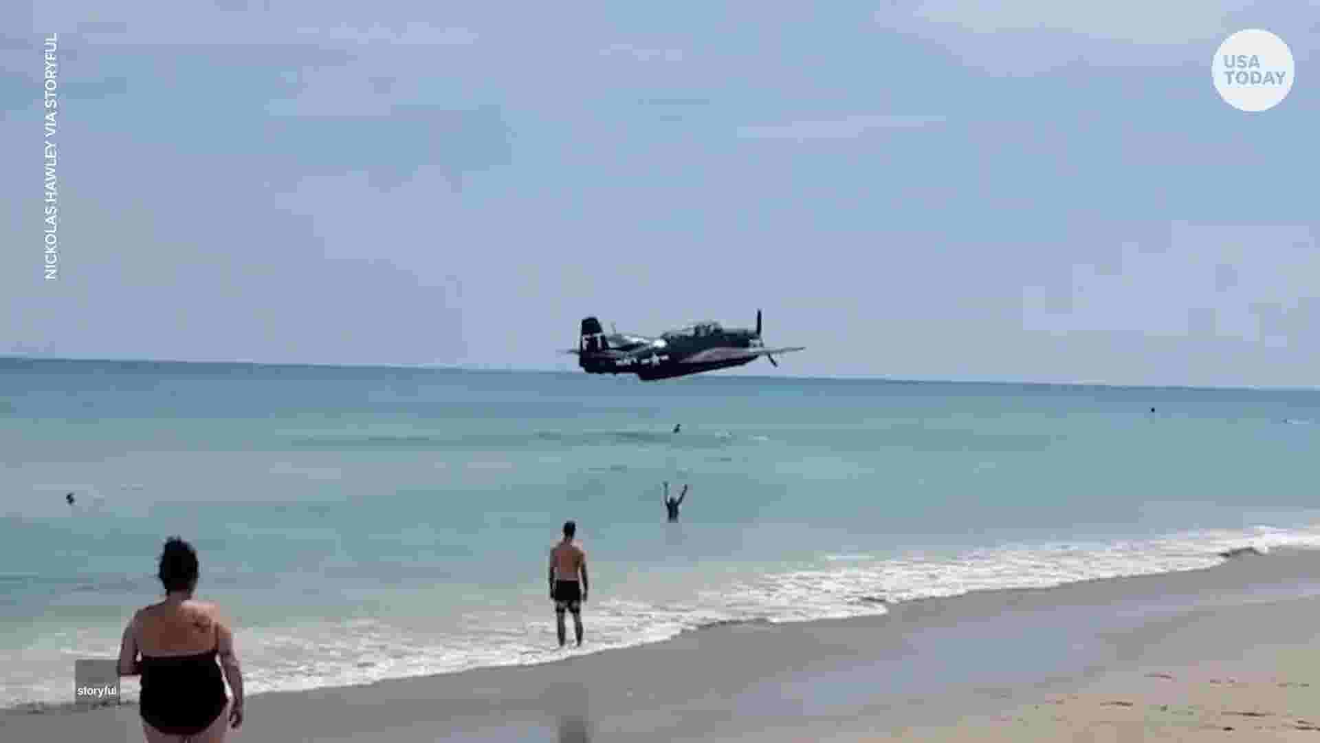 Plane makes emergency landing on crowded beach