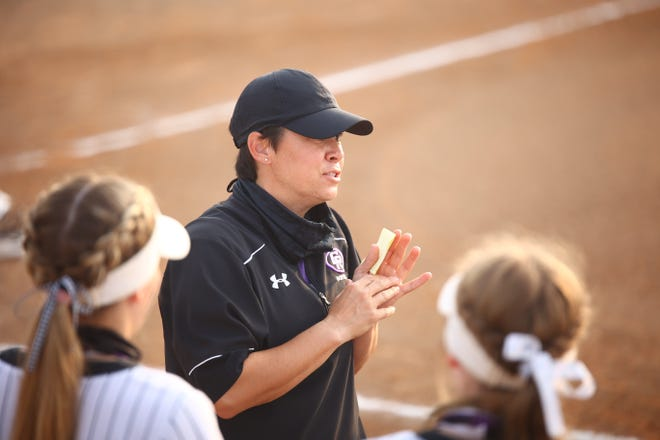 Coach Jessica Poole led the Cedar Ridge softball team to a win over McNeil Monday that secured a sixth consecutive district championship for the Raiders. Cedar Ridge, which shares the District 25-6A title with Round Rock, will enter next week's playoffs as the district's top playoff seed.