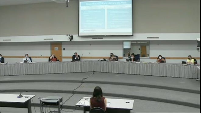 The Round Rock school district's Board of Trustees, shown here meeting in February, approved a $4.5 million increase to its compensation plan to give employees a 1% pay raise.