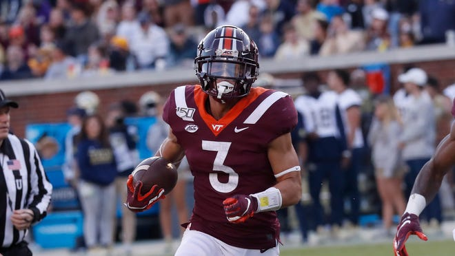 Back and knee surgeries could cause Virginia Tech cornerback Caleb Farley to fall in the NFL Draft, which begins Thursday in Cleveland. [John Bazemore/Associated Press]