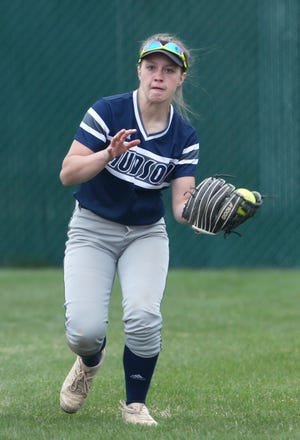 Hudson Laurel Gomersal catches a fly ball for the first out of a solo double play in the seventh inning to end the game against Wadsworth at Wadsworth High School on Monday April 19, 2021. [Mike Cardew/Akron Beacon Journal]