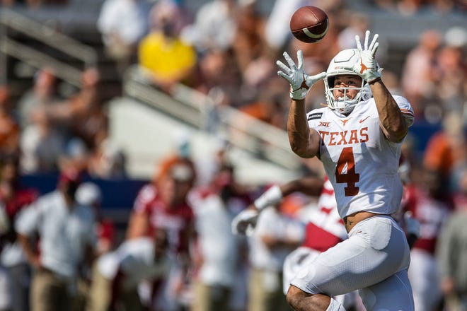 Texas receiver Jordan Whittington had a career-high 10 catches for 65 yards against Oklahoma last season, but so far his UT career has been plagued with injuries. He's in his third season, having just played in six games.