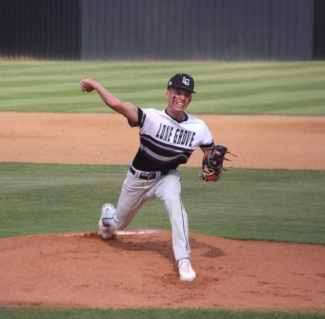 Lone Grove senior Kort McCurtain tossed a one-hitter with six strikeouts and three walks on Monday during a 5-1 win over Lindsay.