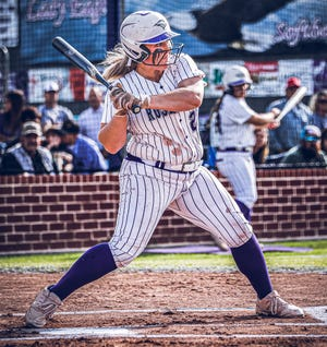 Rosepine senior Calyn Brister hit her school-record tying 12th home run of the season on Monday in the Lady Eagles' win over Delhi Charter, 18-0.