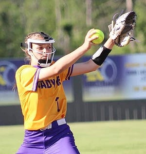 Hayven Myers, seen here in a game from earlier in the season, gave up three runs on five hits with six strikeouts as she helped guide South Beauregard to a Class 3A first-round win over Patterson on Monday, 14-3.
