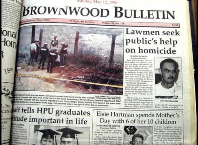 The May 12, 1996 edition of the Brownwood Bulletin reported on the Leon Laureles murder.