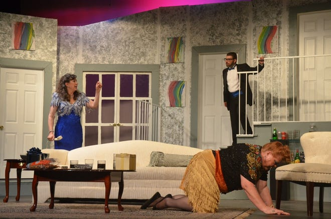 """Cookie Cusack (played by Holli Blanton) crawls away to the kitchen after suffering a back spasm in a scene from Neil Simon's """"Rumors"""" at Brownwood's Lyric Theatre. Also shown are Claire Ganz (played by Lasha Dennis) and Lenny Ganz (played by Levi Packer). After a successful opening last weekend, performances continue at 2:30 and 7:30 p.m. Friday, 7:30 p.m. Saturday, and 2:30 p.m. Sunday."""