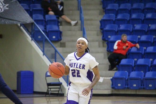 Butler's MeKayla Furman dribbles the ball up the court in the second half at the Rip Griffin Center in Lubbock, Texas in the first round of the 2021 NCJAA Women's National Tournament. Butler fell to Otero 74-67 to end their season 20-4.