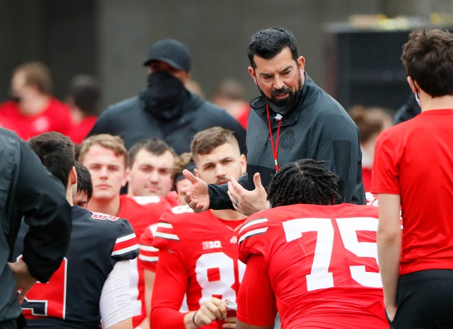 Head Coach Ryan Day addresses his team following the Ohio State football Spring Game at Ohio Stadium in Columbus on Saturday, April 17, 2021.