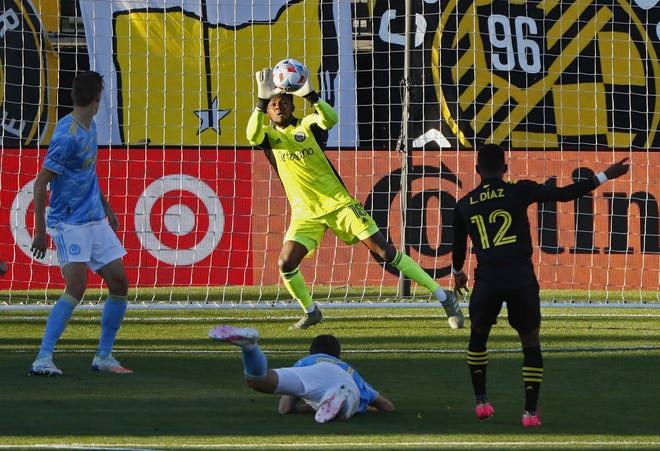 Crew midfielder Luis Diaz's shot is saved by Philadelphia goalkeeper Andre Blake on Sunday. With Kevin Molino out with injury, Diaz should receive the bulk of the starts at right winger.