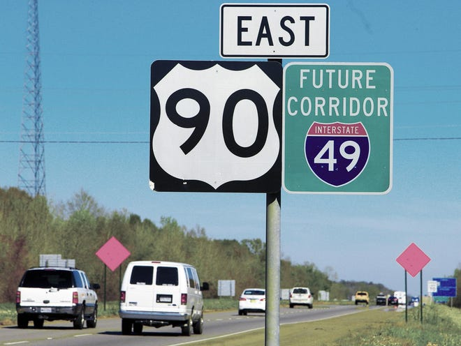 Vehicles travel U.S. 90 in Gray, long identified by road signs as the future I-49 corridor. The project has remained stalled for years largely because of its estimated $5 billion cost.