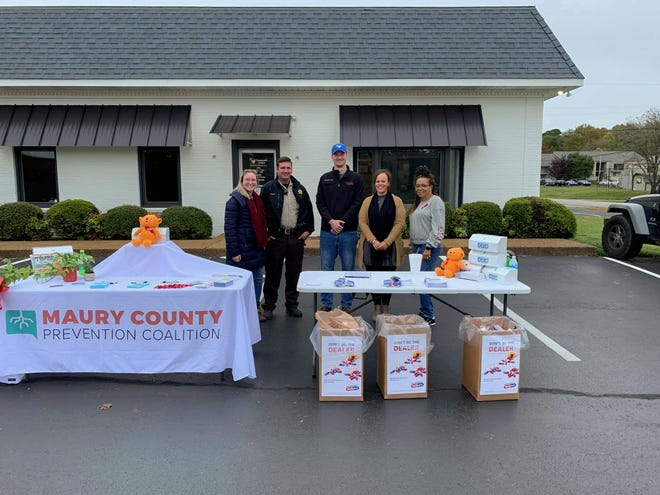 The Maury County Prevention Coalition and the Maury County Sheriff's Department host a drug take back event at Columbia's  RX Compound Pharmacy at 1515 Trotwood Avenue in October 2020.