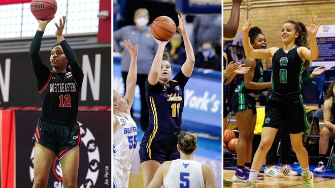 Stetson University announced three women's basketball signees: From left, Northeastern graduate transfer Ayanna Dublin, Toledo transfer Mali Morgan-Elliott and Canadian freshman point guard Haley Stinebrickner. April 2021.