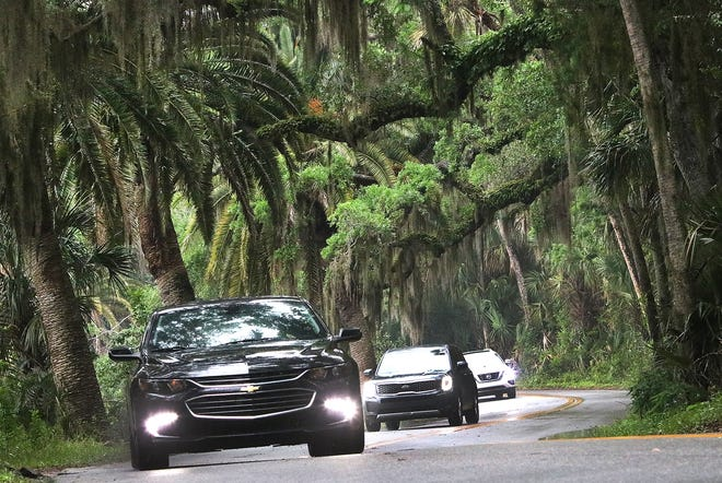 Traffic snakes around one of the many curves on High Bridge Road, Tuesday April 20, 2021 under a canopy of oak trees and palms in the Ormond Scenic Loop.