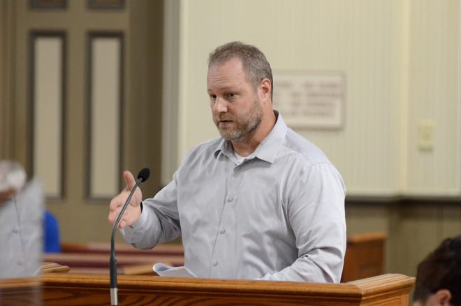 Ascension Parish President Clint Cointment stated he would veto the council's decision to approve the preliminary plat, minus ten lots, of the Delaune Estates subdivision. Cointment is shown during a meeting at the Donaldsonville courthouse late last year.