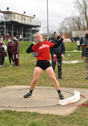 Coldwater's Anna DeMeester took a win in the Shot Put Monday night versus Parma Western