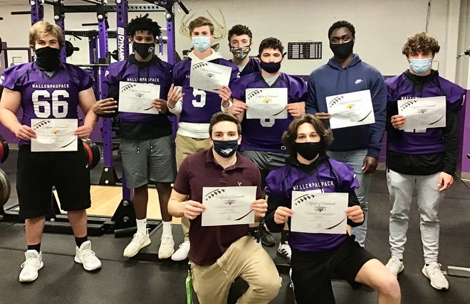 Wallenpaupack Area's varsity football team put up solid numbers this year on the field and in the classroom. A total of 13 Buckhorns earned spots of the 2020 Pennsylvania Football News All-Academic Team. Pictured are (first row, from left): Lenny Ruggieri, Justin Stella. Second row: Nick Seretis, Mabret Levant, Chris Quigley, Hunter Vargo, Frank Magistro, Shadrak Agyei, Roman Levant. Missing from photo: Nick Parrella, TJ Schmalzle, Alex Gardsy, Liam Smith.