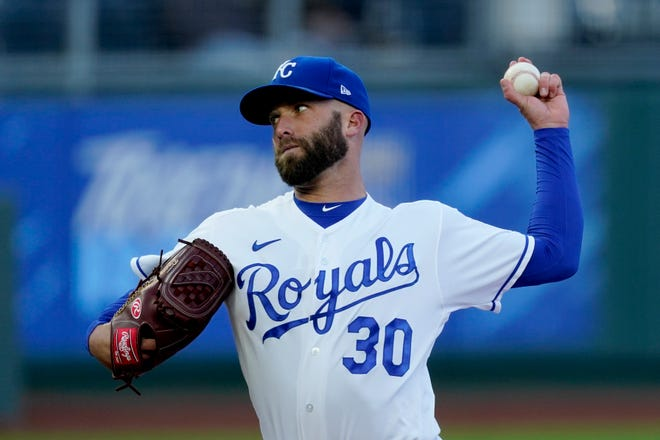 Kansas City Royals starting pitcher Danny Duffy throws to a Tampa Bay Rays batter in Monday's game at Kauffman Stadium. Duffy gave up just two unearned runs and struck out eight in six innings but got no run support as the Royals lost 4-1.