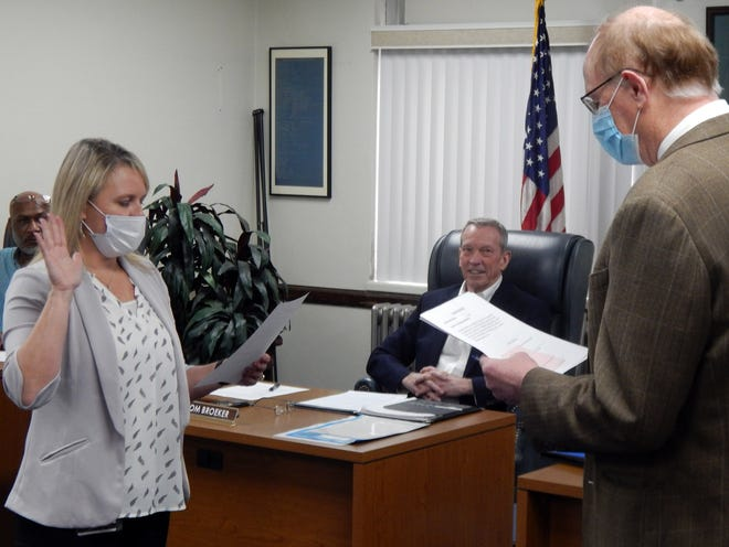 Natalie Steffener is sworn in Tuesday as the Des Moines County recorder by District Court judge Mark Kruse in the Des Moines County Courthouse in Burlington. Steffener was appointed to serve the remainder of former recorder Lisa Hazell's term. Hazell resigned earlier this month.