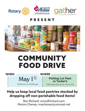 Dover Rotary is partnering with Gather and CAP to host a community food drive on Saturday, May 1