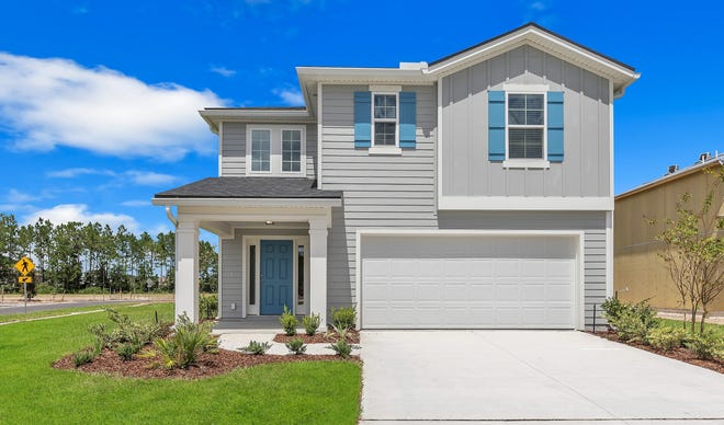 Exterior of the Vero model from Dream Finders Homes. This four-bedroom, three-bath plan is one of several available in the builder's new Settlers Ridge community on Jacksonville's Westside.