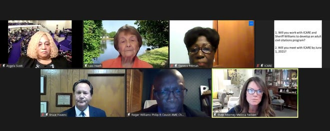 State Attorney Melissa Nelson (lower right) is questioned about a civil citation program during a Tuesday-night ICARE virtual meeting.