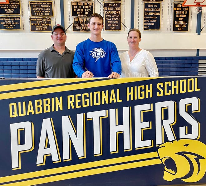 Quabbin senior Shea Skowyra recently committed to attend and play basketball at the University of New England in Biddeford, Maine, next year. Joining him at the brief signing ceremony where his parents Tom and Brianna Skowyra.