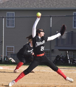Hannah Swope of Orion pitches to a batter from Geneseo on Thursday afternoon, April 15, at the Charger diamond.