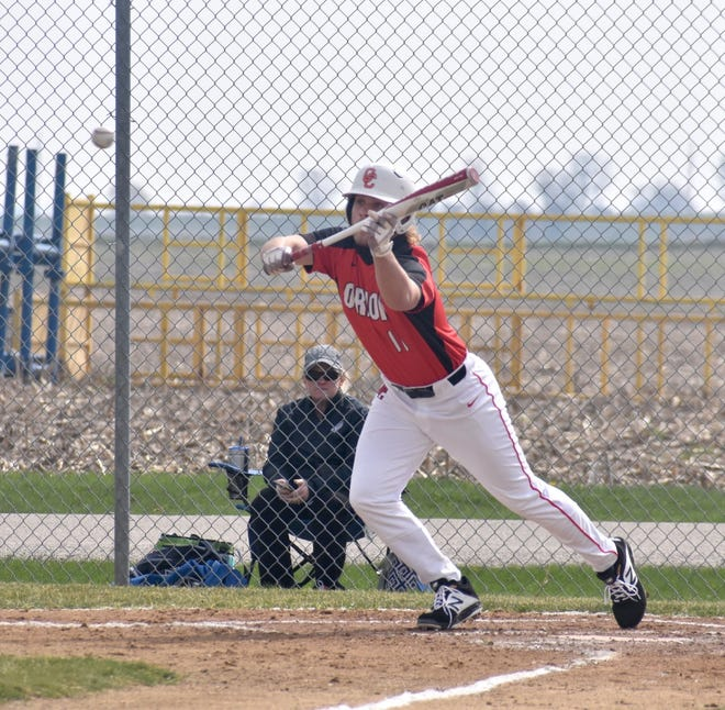 Orion's Quinn Hoftender shows bunt in the bottom of the season opening on Saturday, April 17, at Love Park. The Chargers hosted the Monmouth-Roseville Titans. Later in the at bat, Hoftender would single.