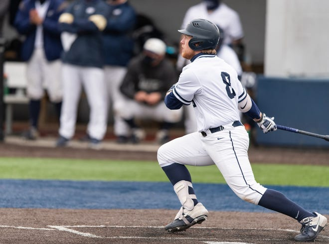 University of Illinois Springfield's Kai Youngquist, a 2017 United High School grad, takes a cut in a game against the University of Southern Indiana on Friday, March 12, 2021.